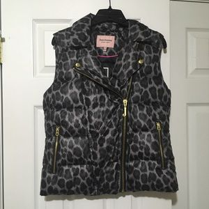 NEW Juicy Couture Cheetah Print Puffer Vest